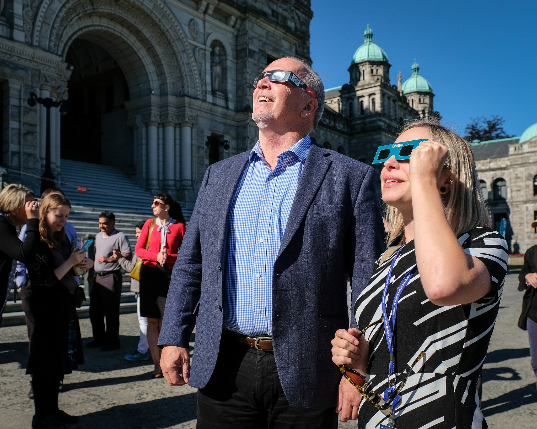 John Horgan viewing the eclipse