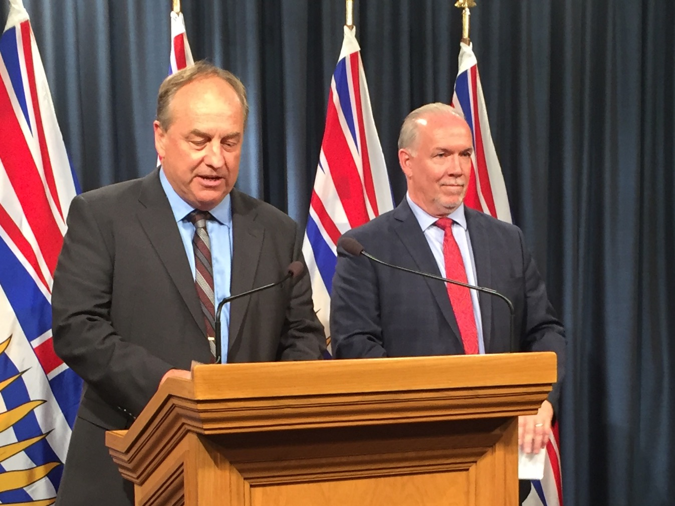 Green leader Andrew Weaver and Premier John Horgan