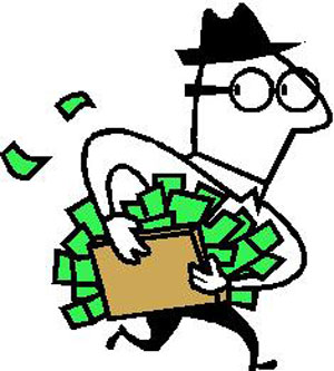 Illustration of business man running with money