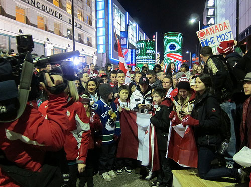 Olympics, downtown crowd, fans
