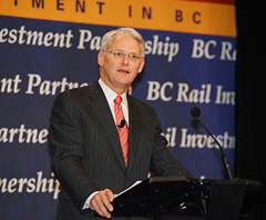 Gordon Campbell announcing BC Rail sale