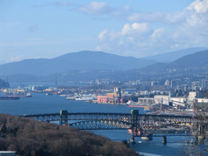 Burrard Inlet and Second Narrows bridge