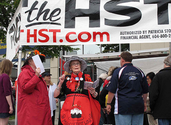 Old woman protesting HST