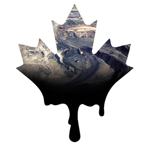 Maple leaf with tar sands detail