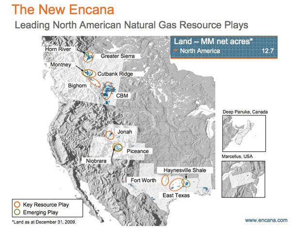 Encana resource plays