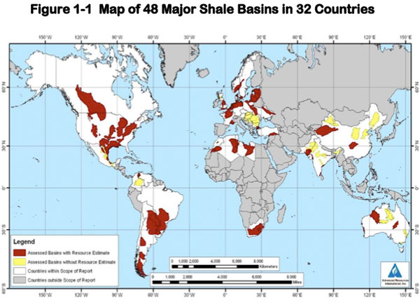 Map of major shale gas basins