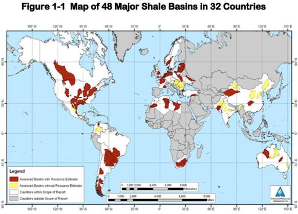 582px version of Map of major shale gas basins