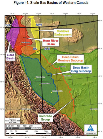 Map of shale basins in Western Canada