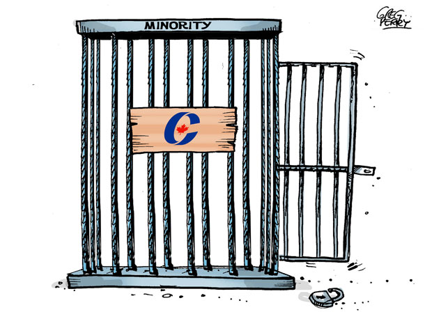 Cartoon about the Conservative majority government