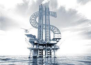 Oil rig in the shape of a dollar sign