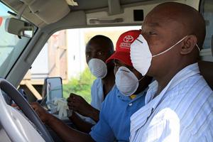 Cholera aid workers in Haiti