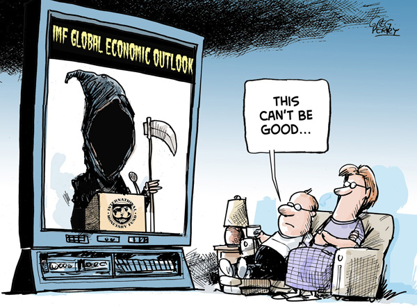 Global economic outlook cartoon