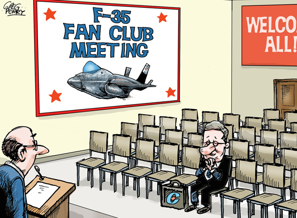 Cartoon about F-35 plane purchase