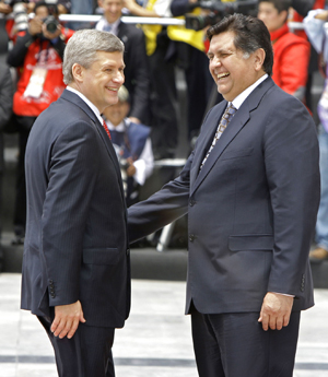 Stephen Harper and the Peruvian president