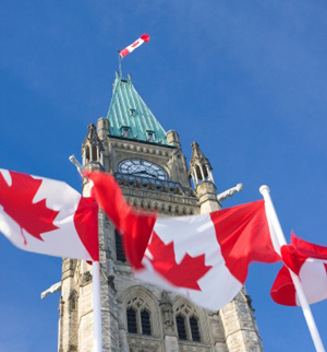 Canadian Parliament, waving flag