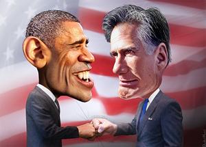 Cartoon of Obama and Romney