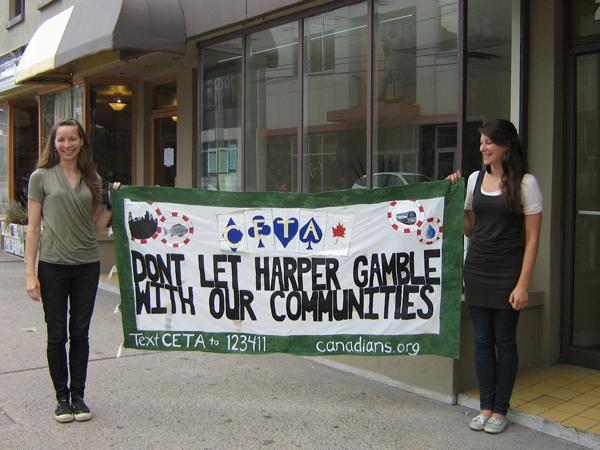 CETA protest sign