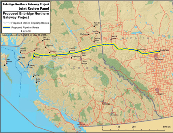 Proposed route of Enbridge's Northern Gateway Pipeline
