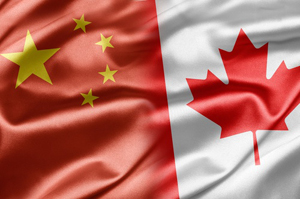 Chinese and Canadian flag