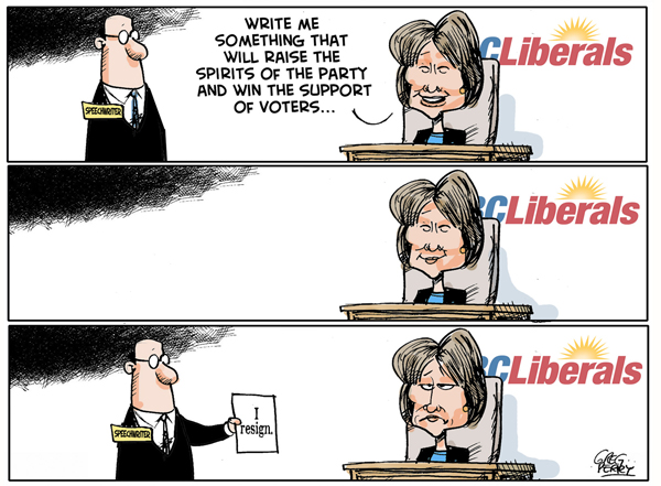 Christy Clark resignation cartoon