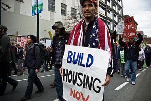 Social housing protestor