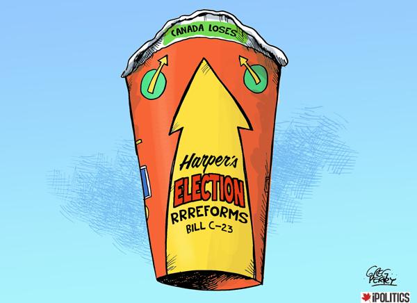 Harper election reform cartoon