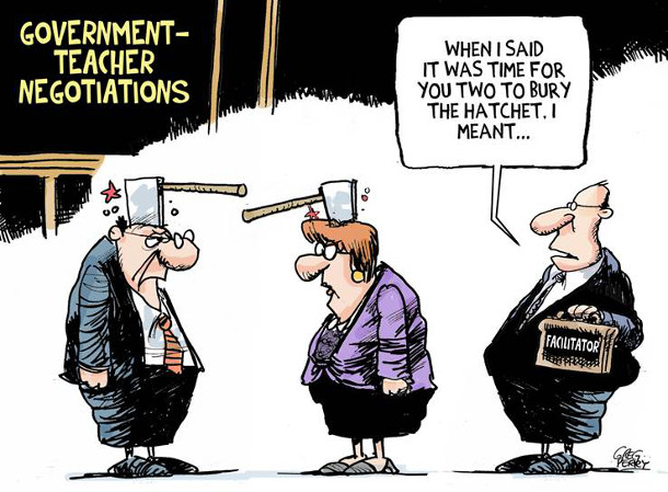 Teachers' strike negotiation cartoon