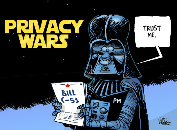 Cartoon by Greg Perry about Bill C-51