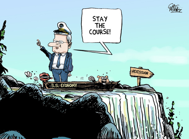 Cartoon about Harper and a Canadian recession
