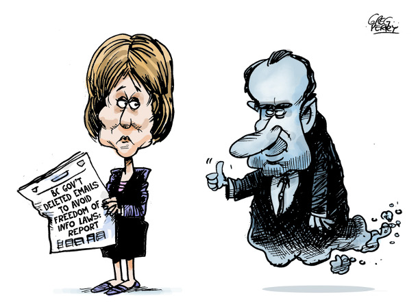 Cartoon by Greg Perry about Christy Clark's emails