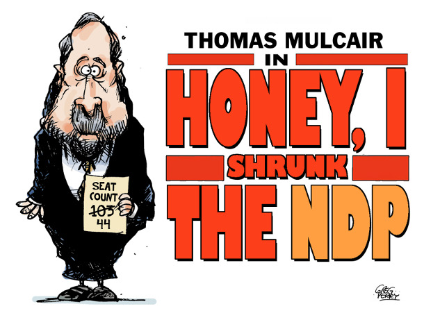 Cartoon by Greg Perry about Thomas Mulcair