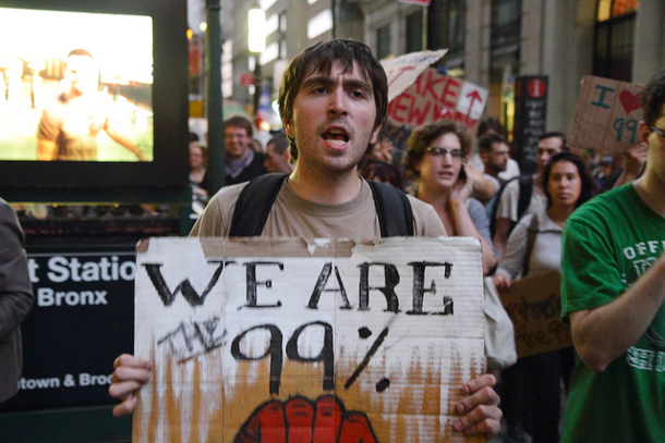 'We Are the 99 Percent' sign
