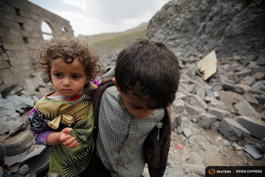 Yemens war a test for canada and were flunking the tyee a boy carries his sister as he walks through the rubble of a house destroyed by a saudi led airstrike in sanaa yemen on aug 11 ccuart Gallery
