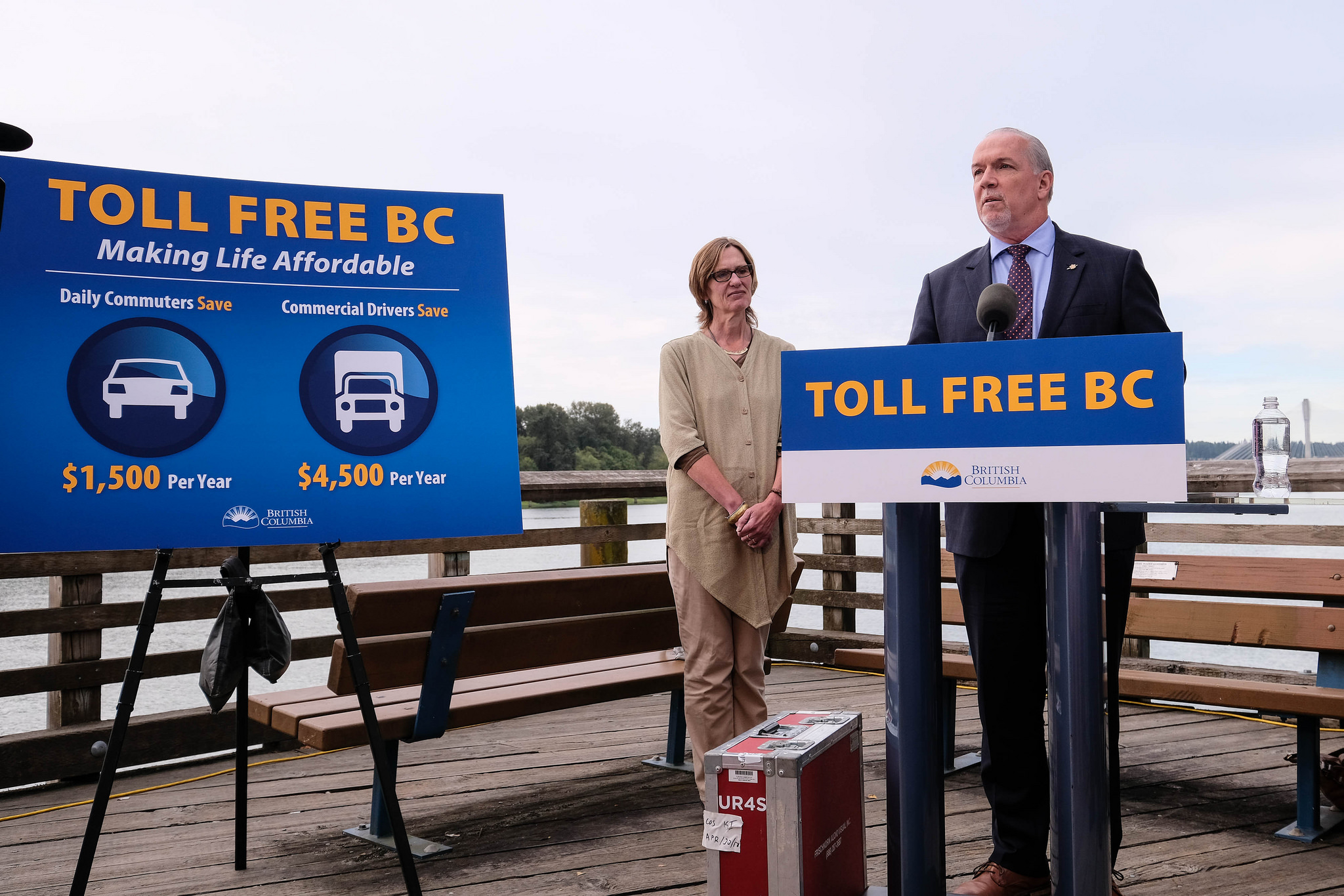 Premier John Horgan and Transportation Minister Claire Trevena