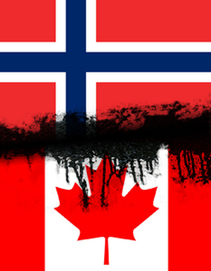 Norway and Canadian flags