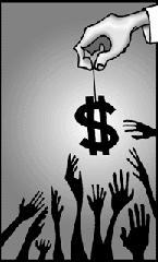 Hands grasping for dollar symbol